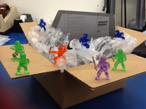 toy ninjas positon on ipad packaged in box