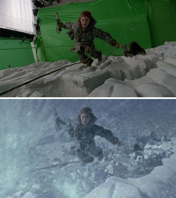 egret game of thrones falling from wall green screen