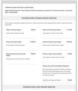 techrestore iPad iphone mac repair prices
