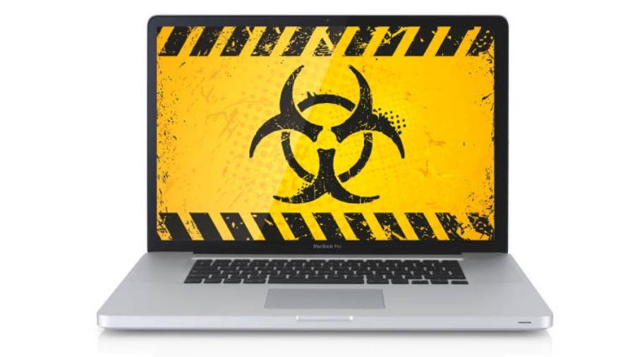 mac with malware symbol