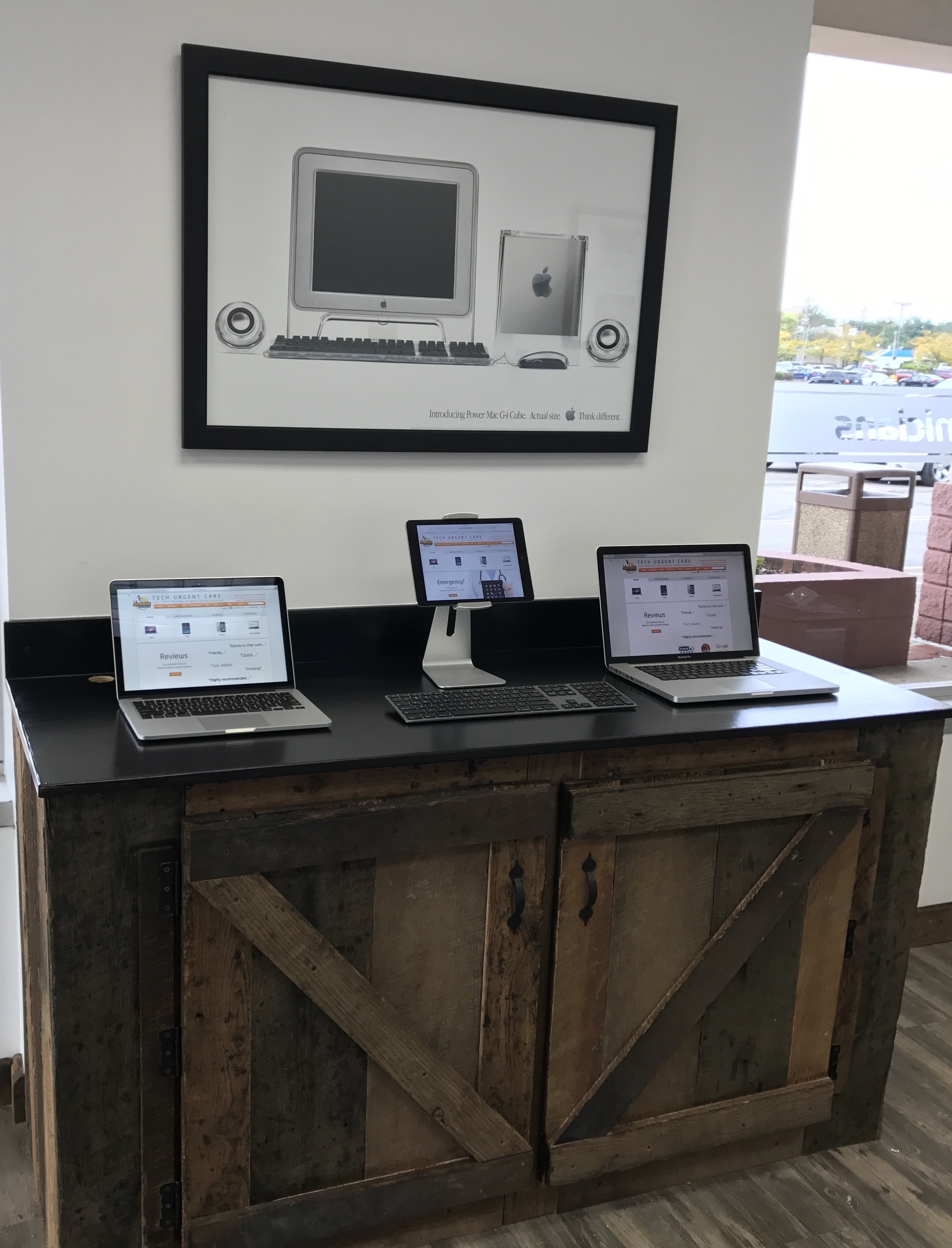 cropped laptops in lobby